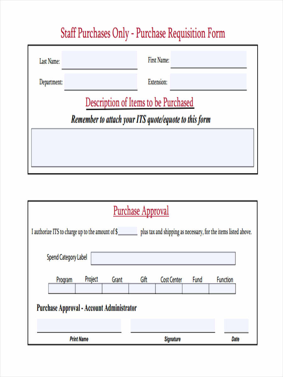 staff purchase requisition