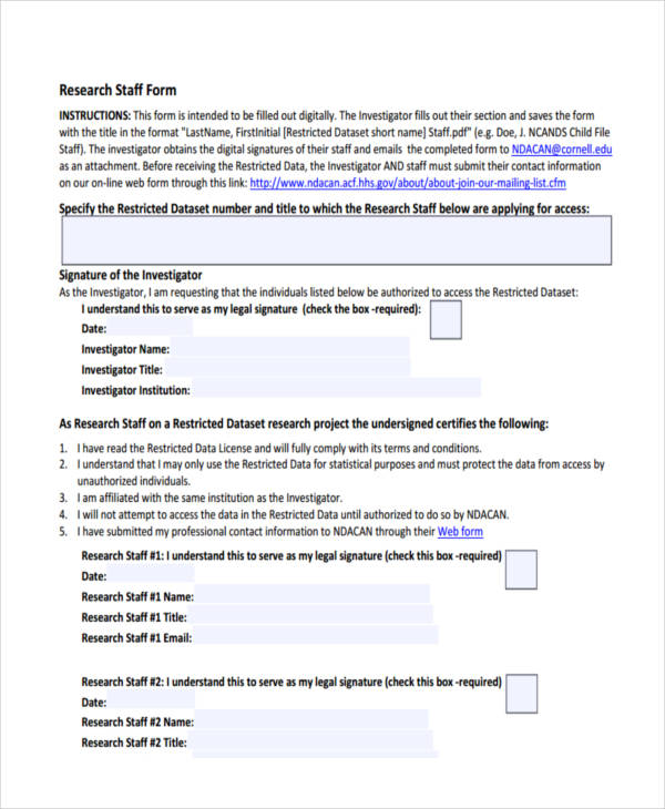 staff research form