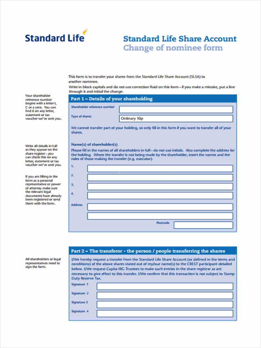 Standard transfer forms 7 free documents in word pdf standard life share account falaconquin