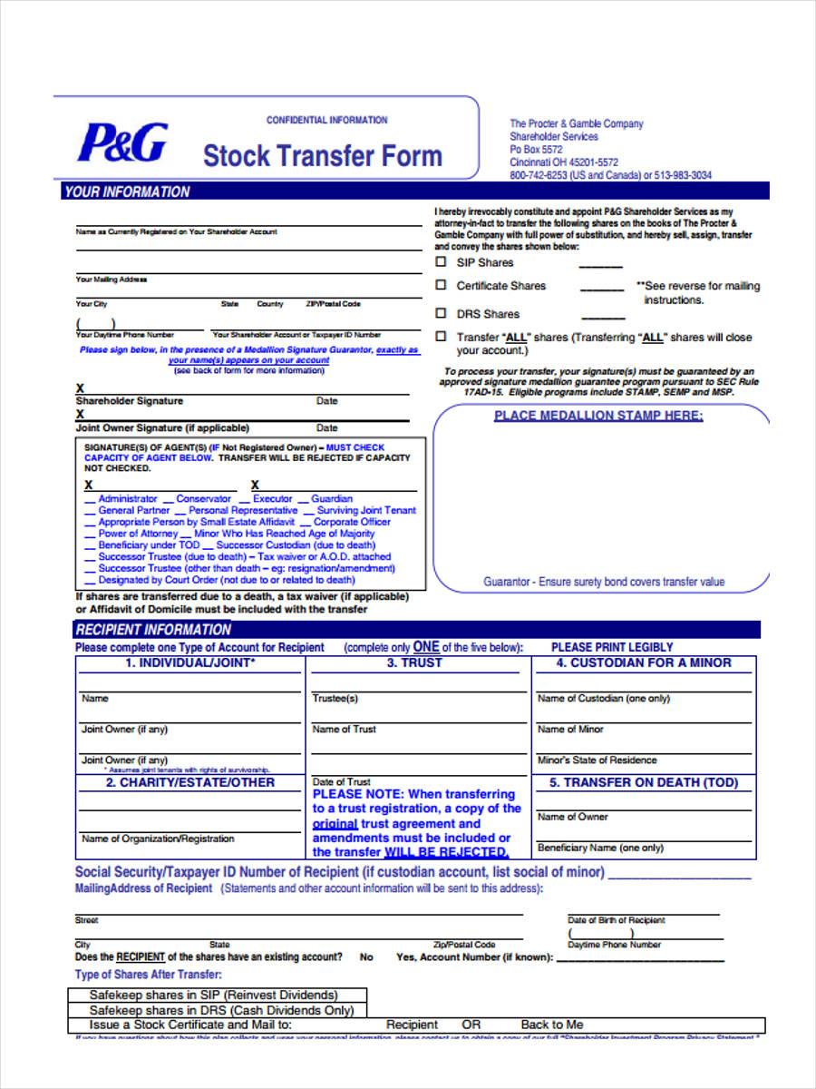 stock power transfer
