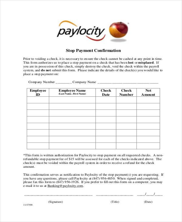 stop payment confirmation