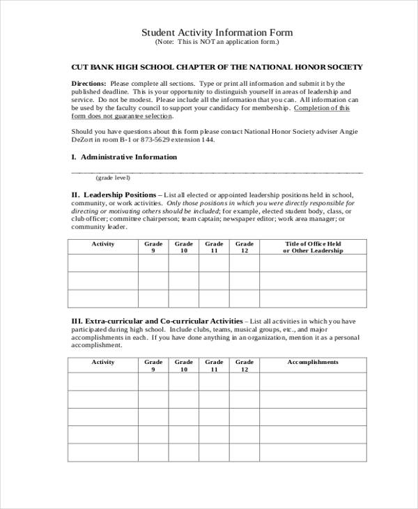 Student Information Forms  Free Sample Example Format Download