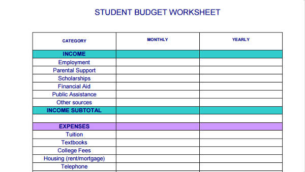 8 Student Budget Form Sample Free Sample Example Format Download