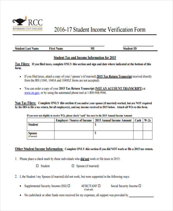 Income Verification Form Samples  Free Sample Example Format