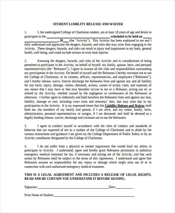 student liability waiver