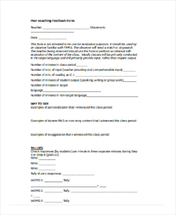 student peer coaching feedback form