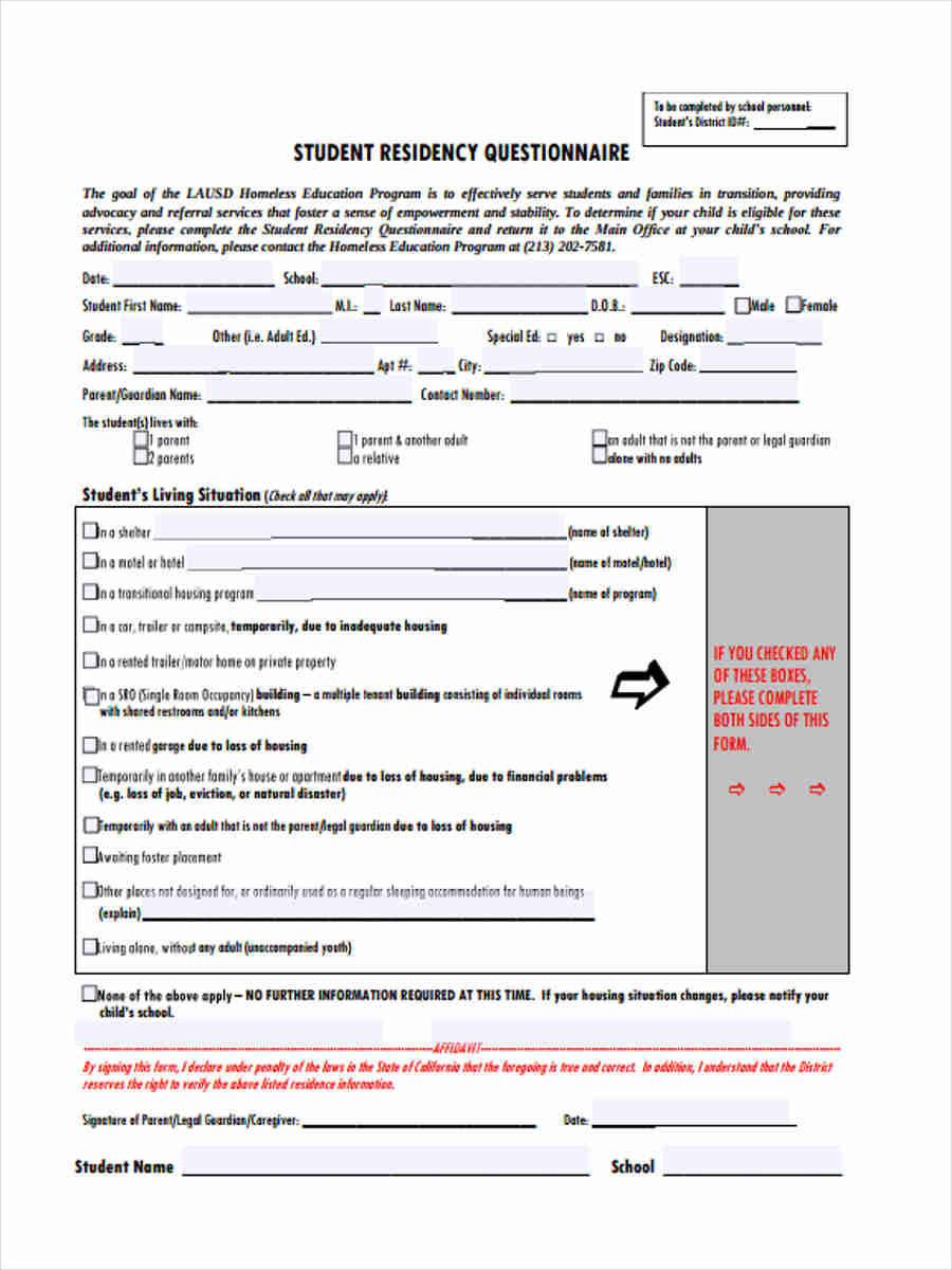 student residence questionnaire1
