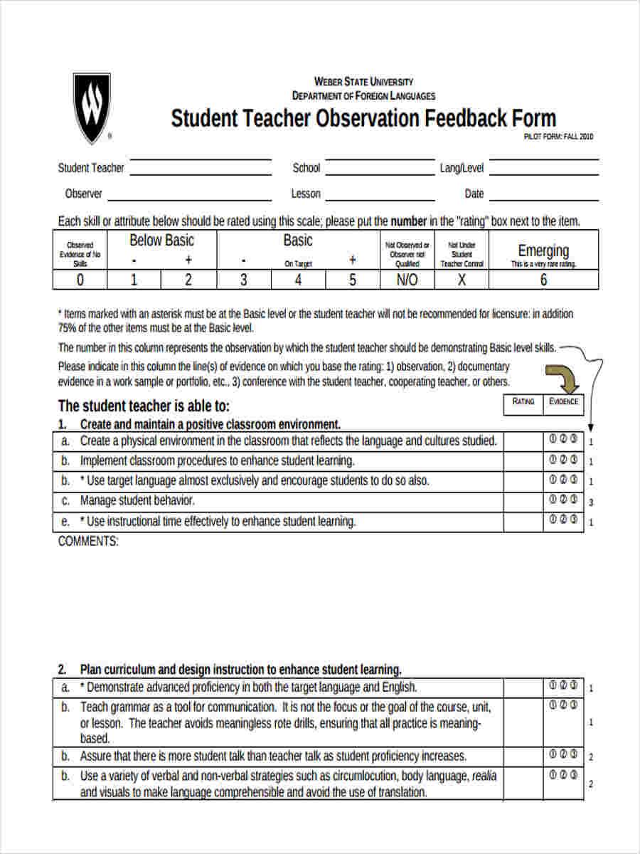Student Teacher Observation