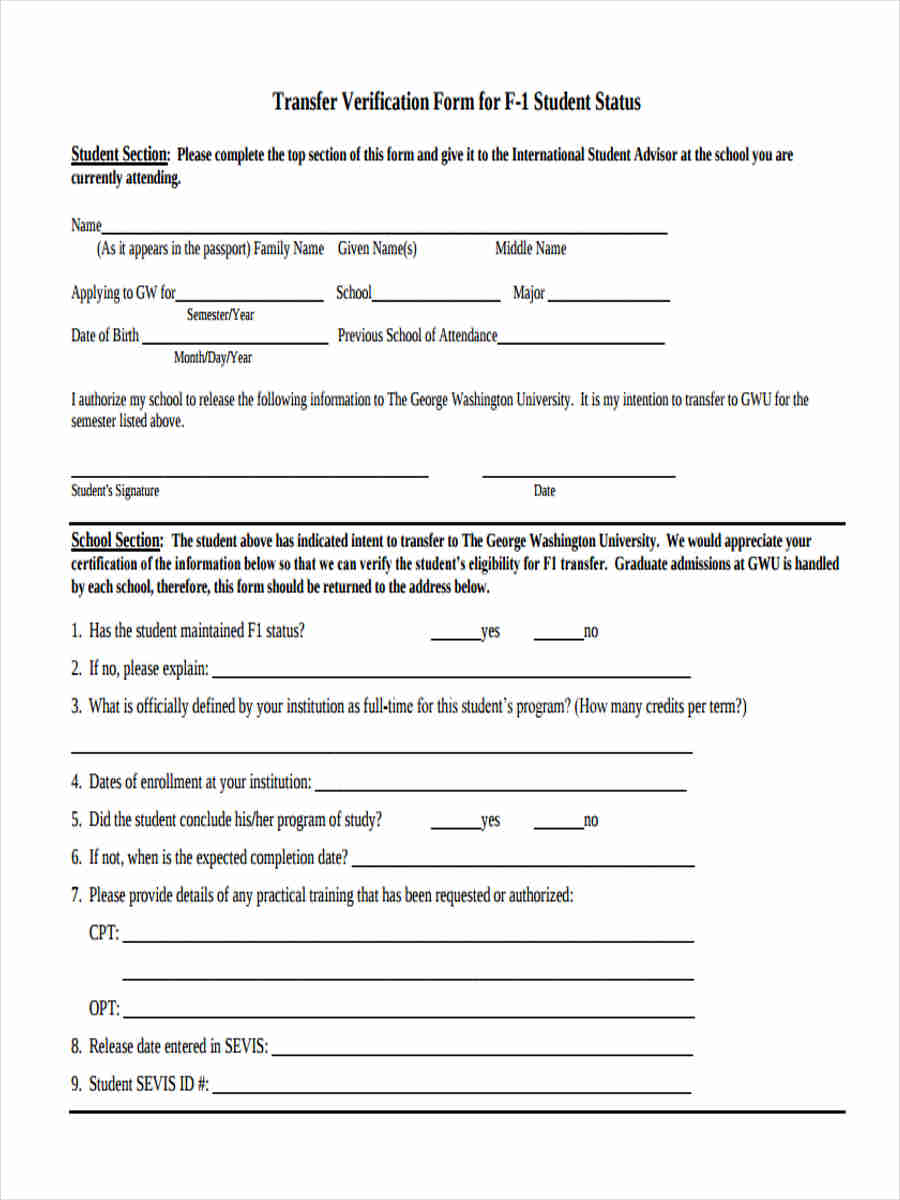 free 7  student transfer forms in samples  examples  formats