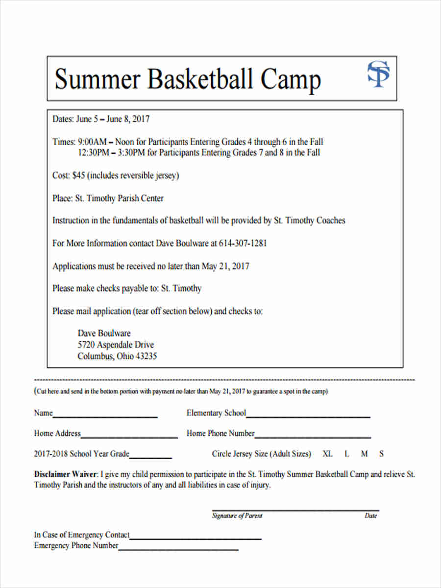 summer camp waiver