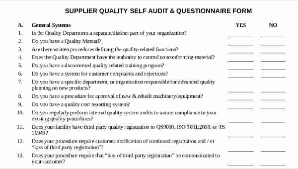 11+ Supplier Questionnaire Form Sample - Free Sample, Example Format