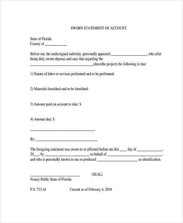 Free Sample, Example Format Download 7+ Sworn Statement Form Sample