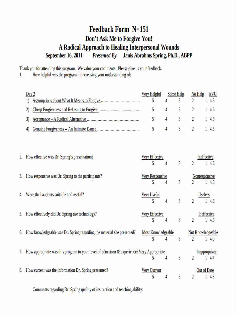 teacher presentation feedback form