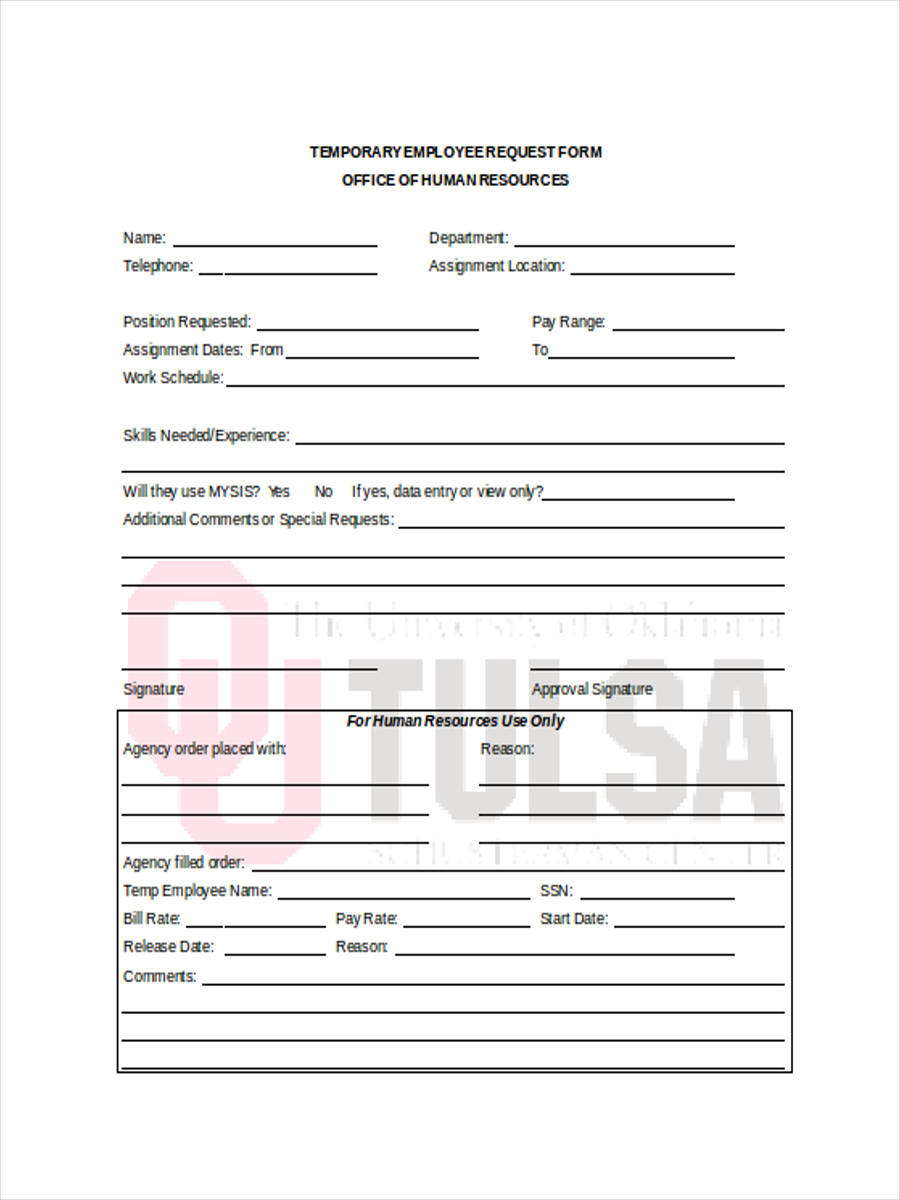 temporary employee form in doc