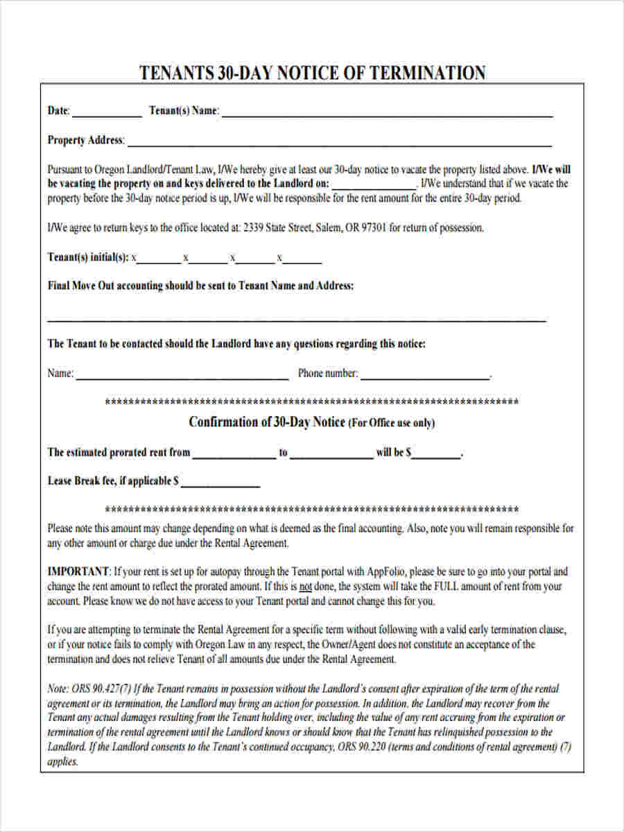 Free 8 30 Day Notice Forms In Sample Example Format