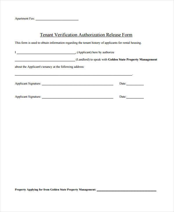 tenant authorization release