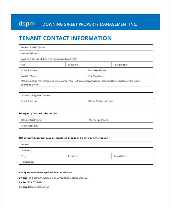 tenant contact
