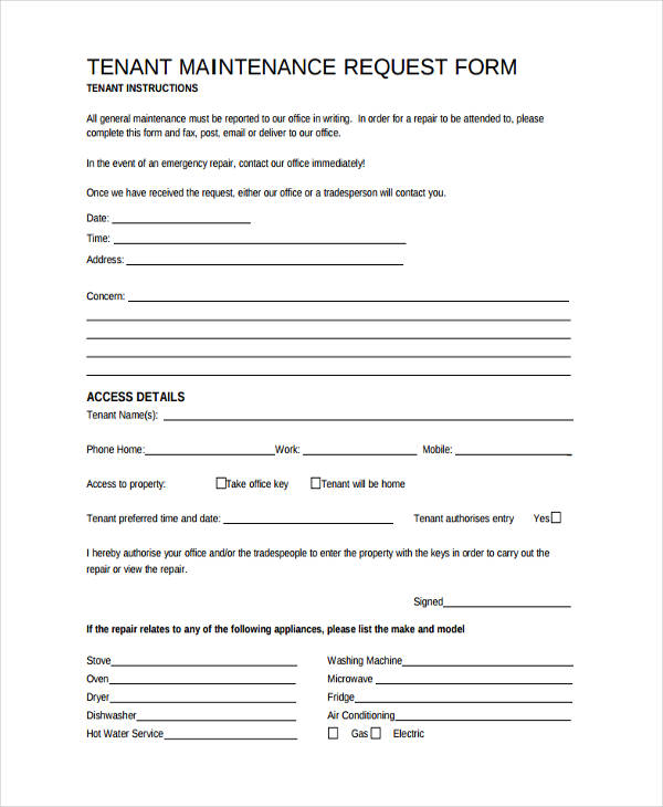Maintenance Request Form Sample  Free Sample Example Format
