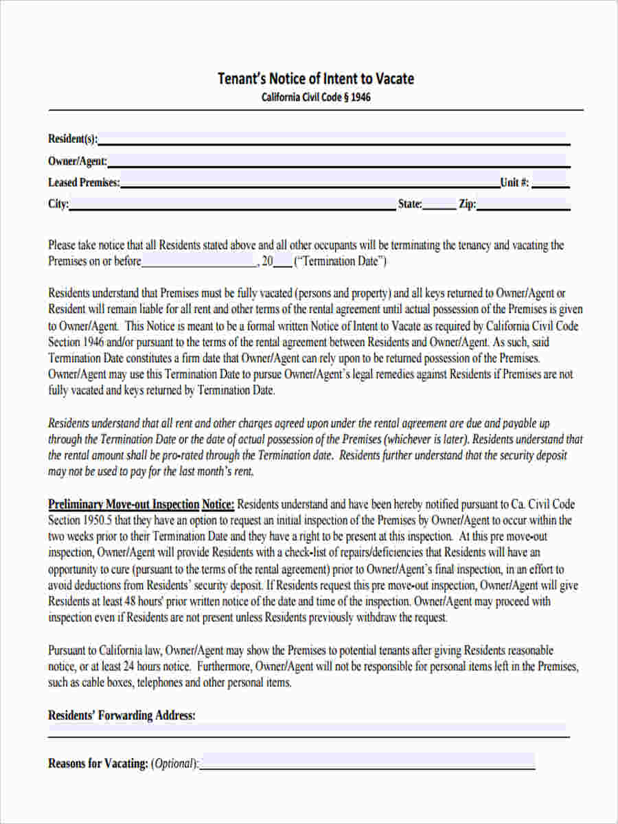 notice to pay rent or vacate form