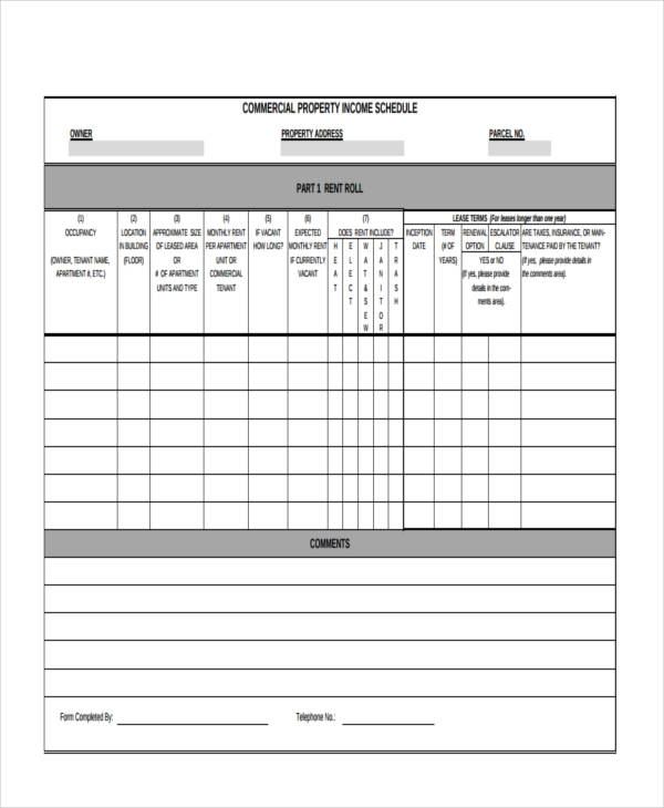 free 17  rent roll form templates