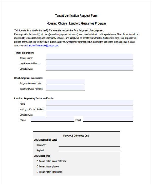 tenant verification request