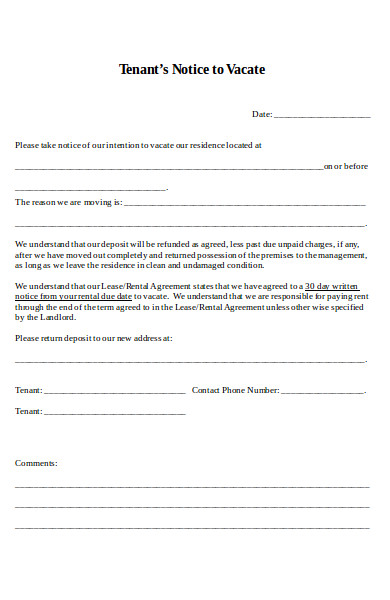 tenants notice to vacate form
