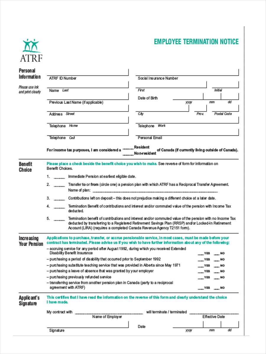 termination notice to employee