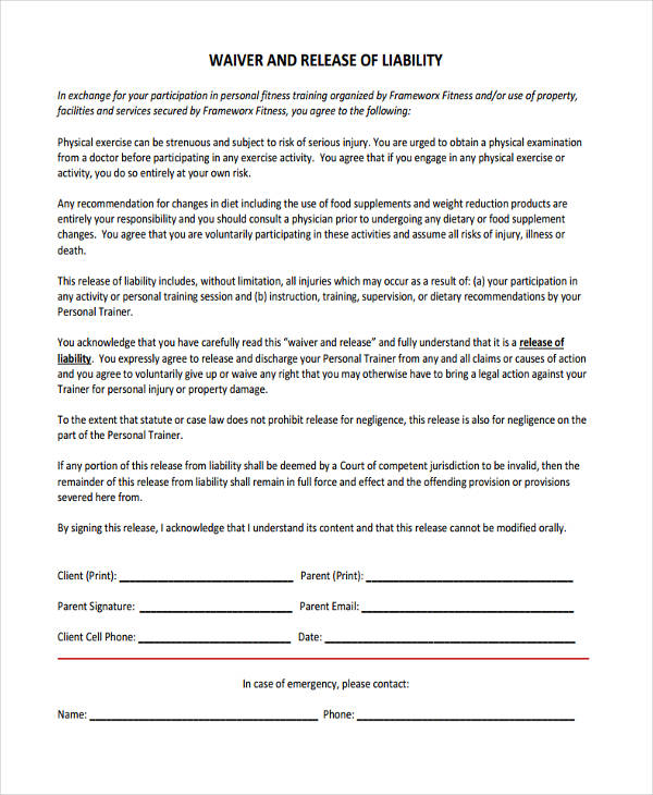 training liability waiver