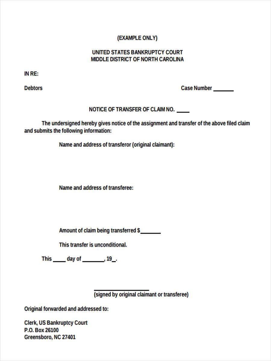 transfer of claim form