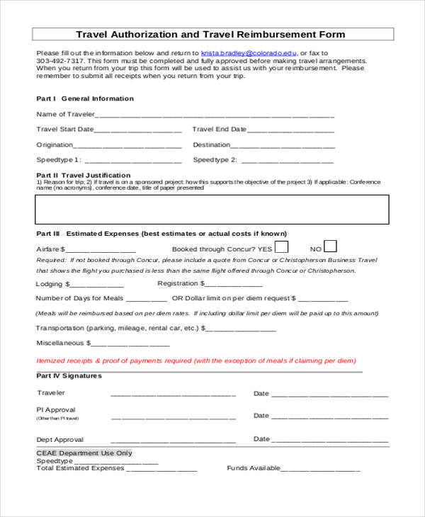 travel authorization reimbursement