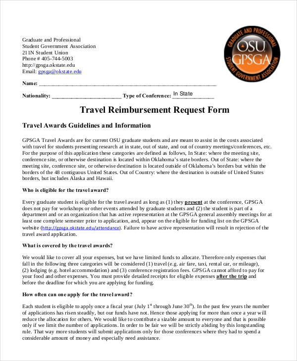 11+ Travel Reimbursement Form Sample - Free Sample, Example Format ...
