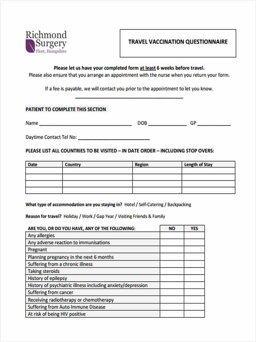 9  travel questionnaire form sample