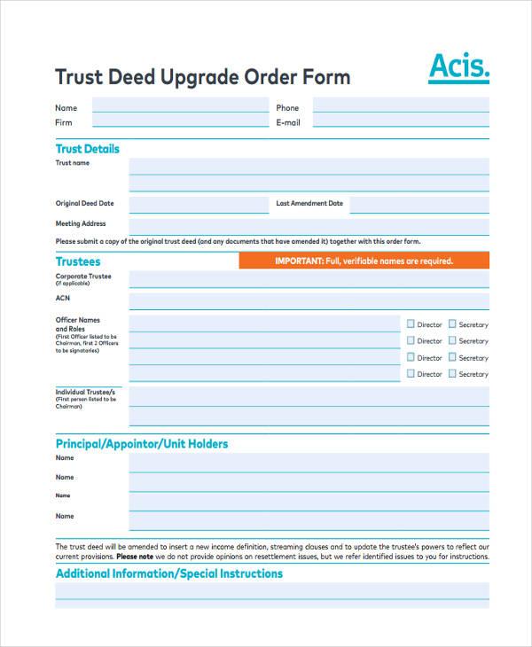 trust deed upgrade order