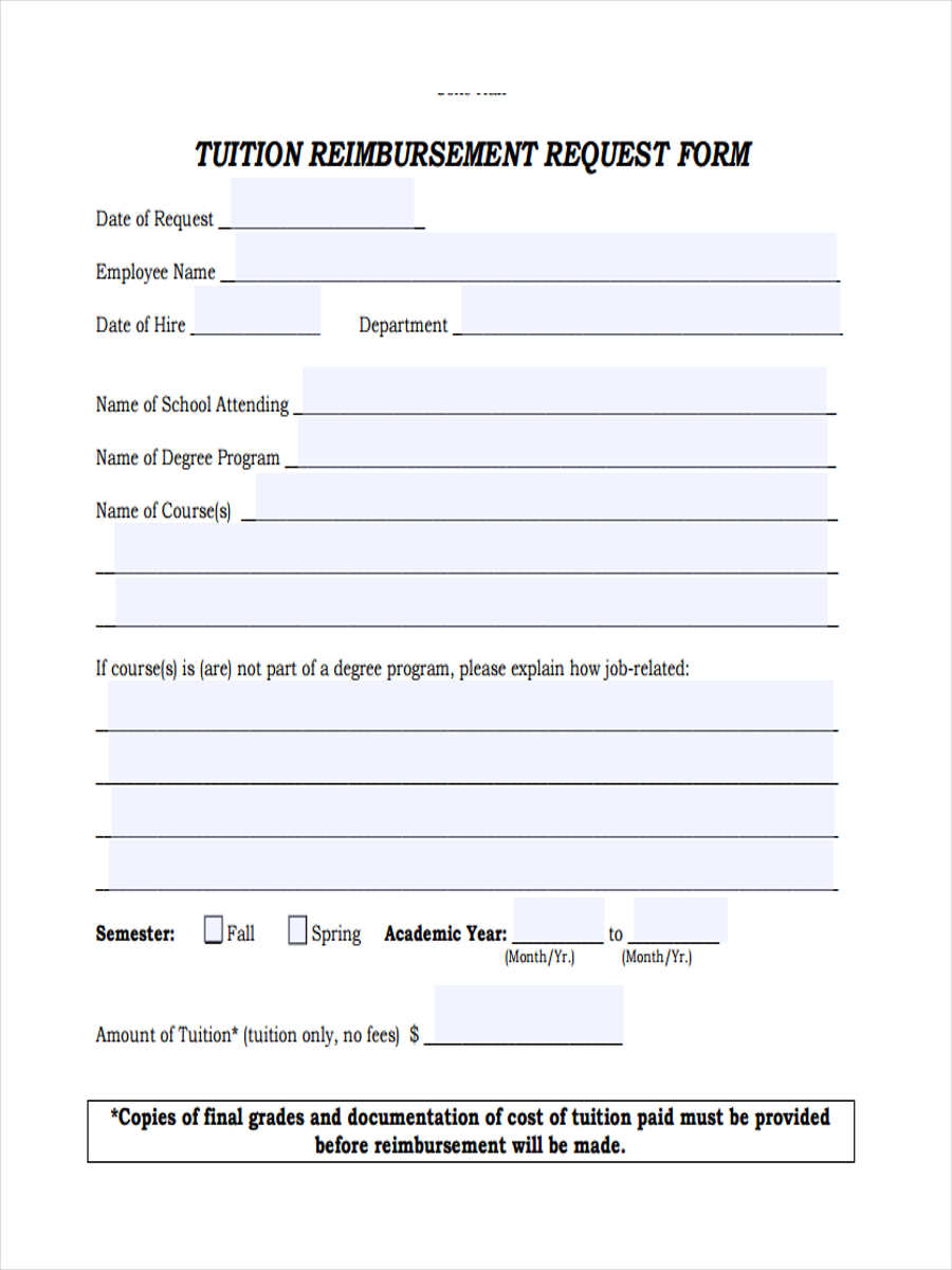 9  tuition reimbursement form sample