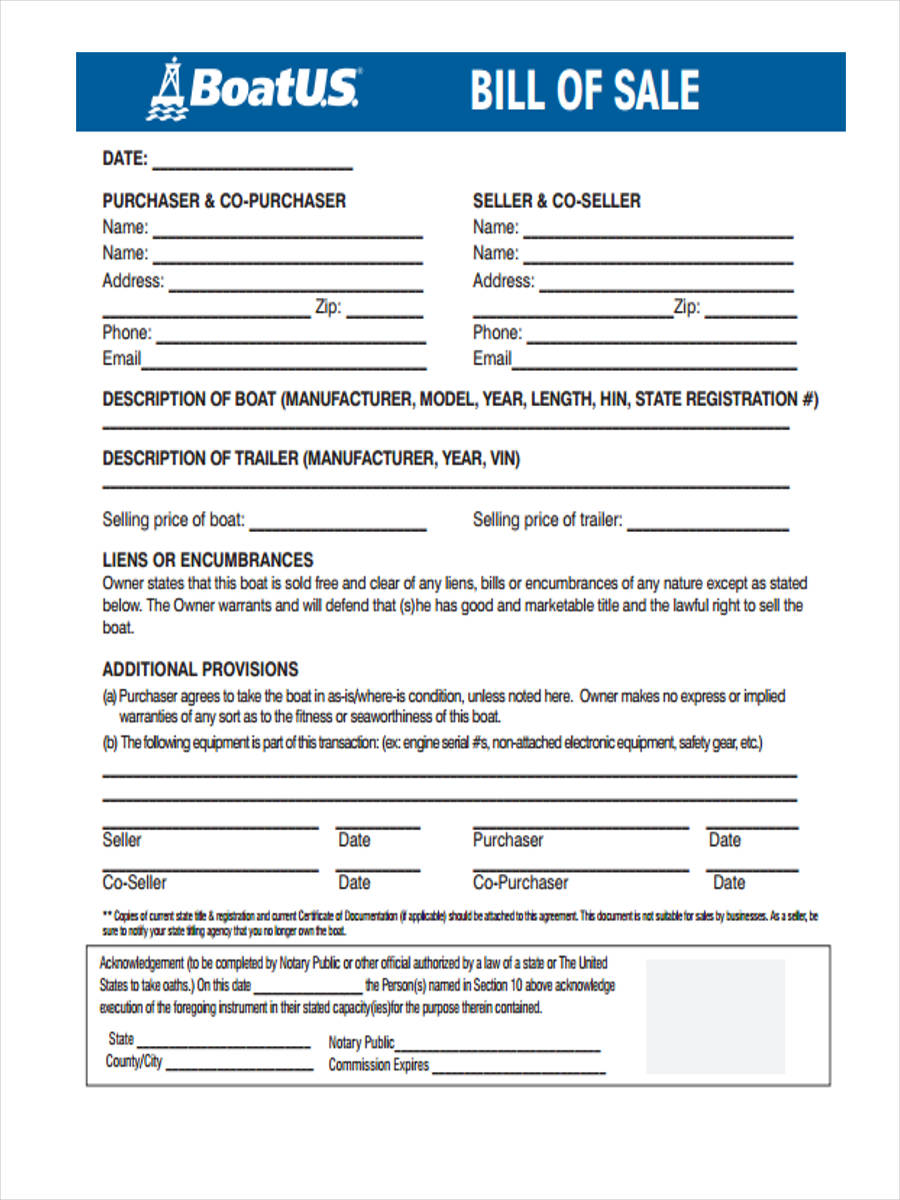 30 sample bill of sale forms