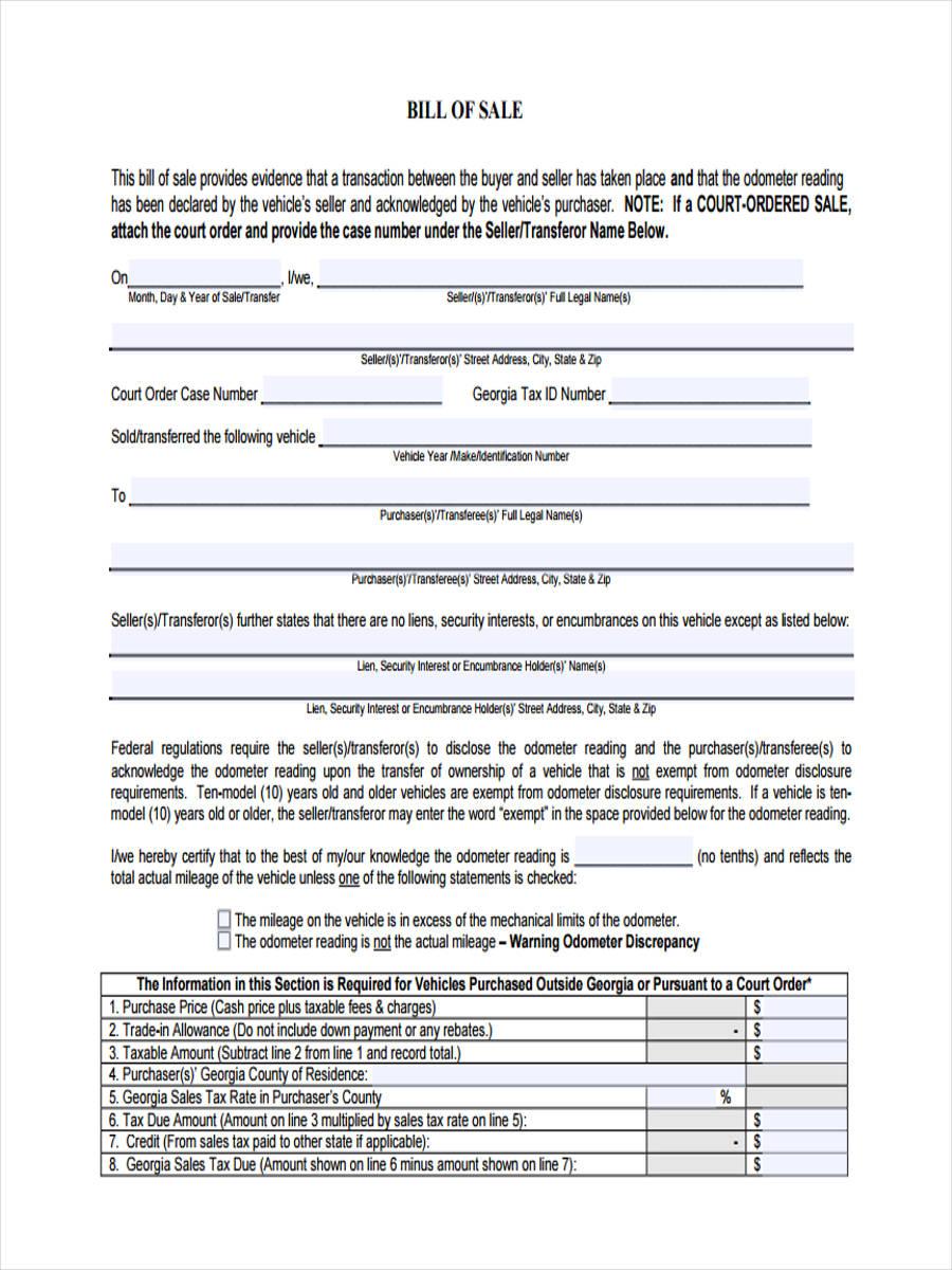 auto bill of sale form ga ecza productoseb co