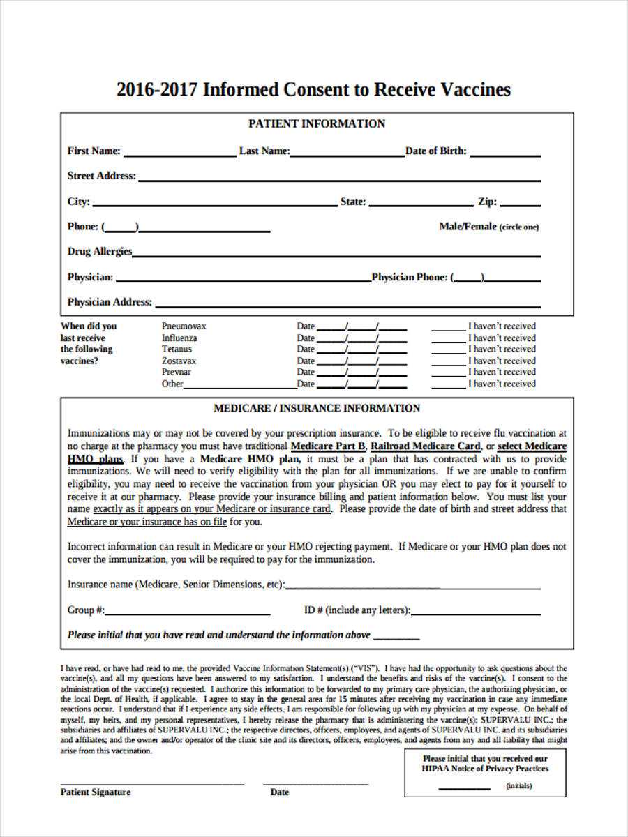 Free Ms Office >> FREE 9+ Vaccine Consent Forms in PDF | Ms Word