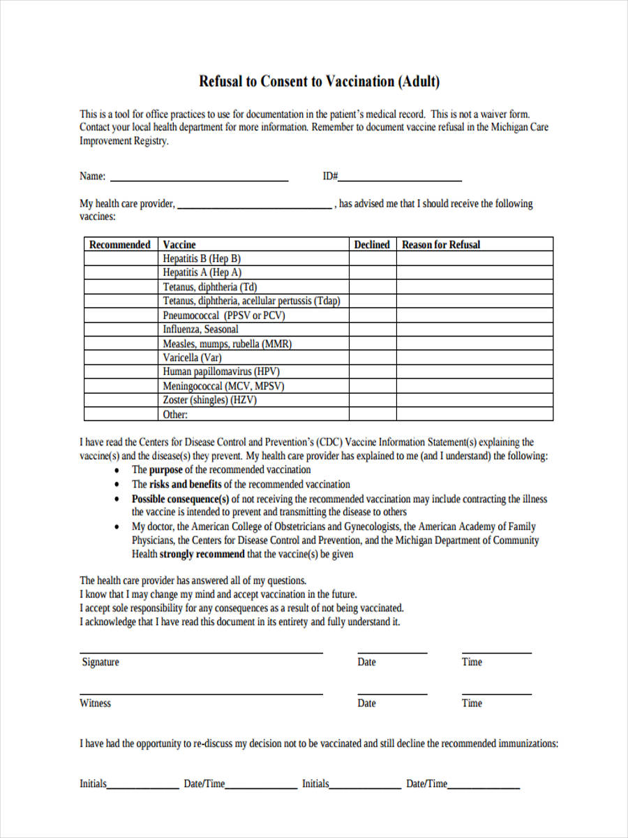 free 8  vaccine consent forms in sample  example  format