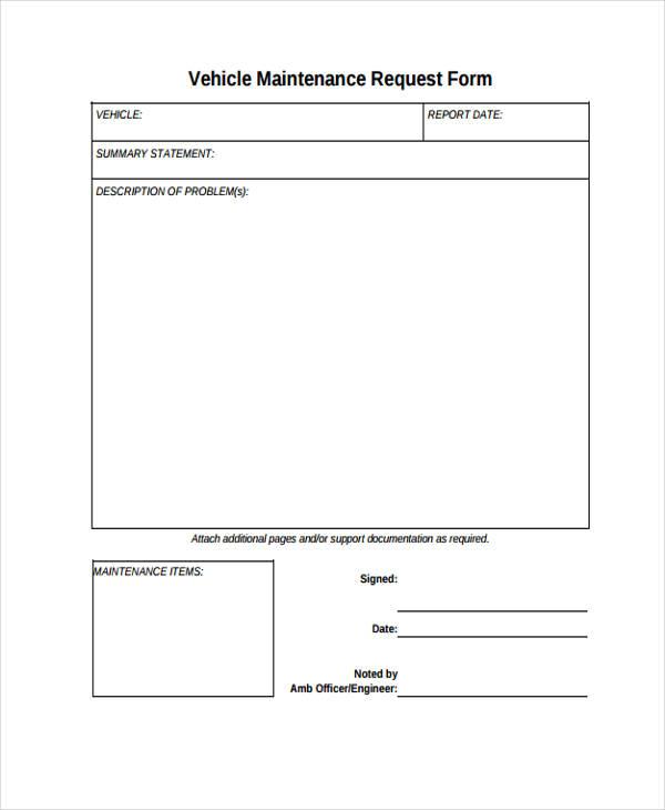 Vehicle Maintenance Request