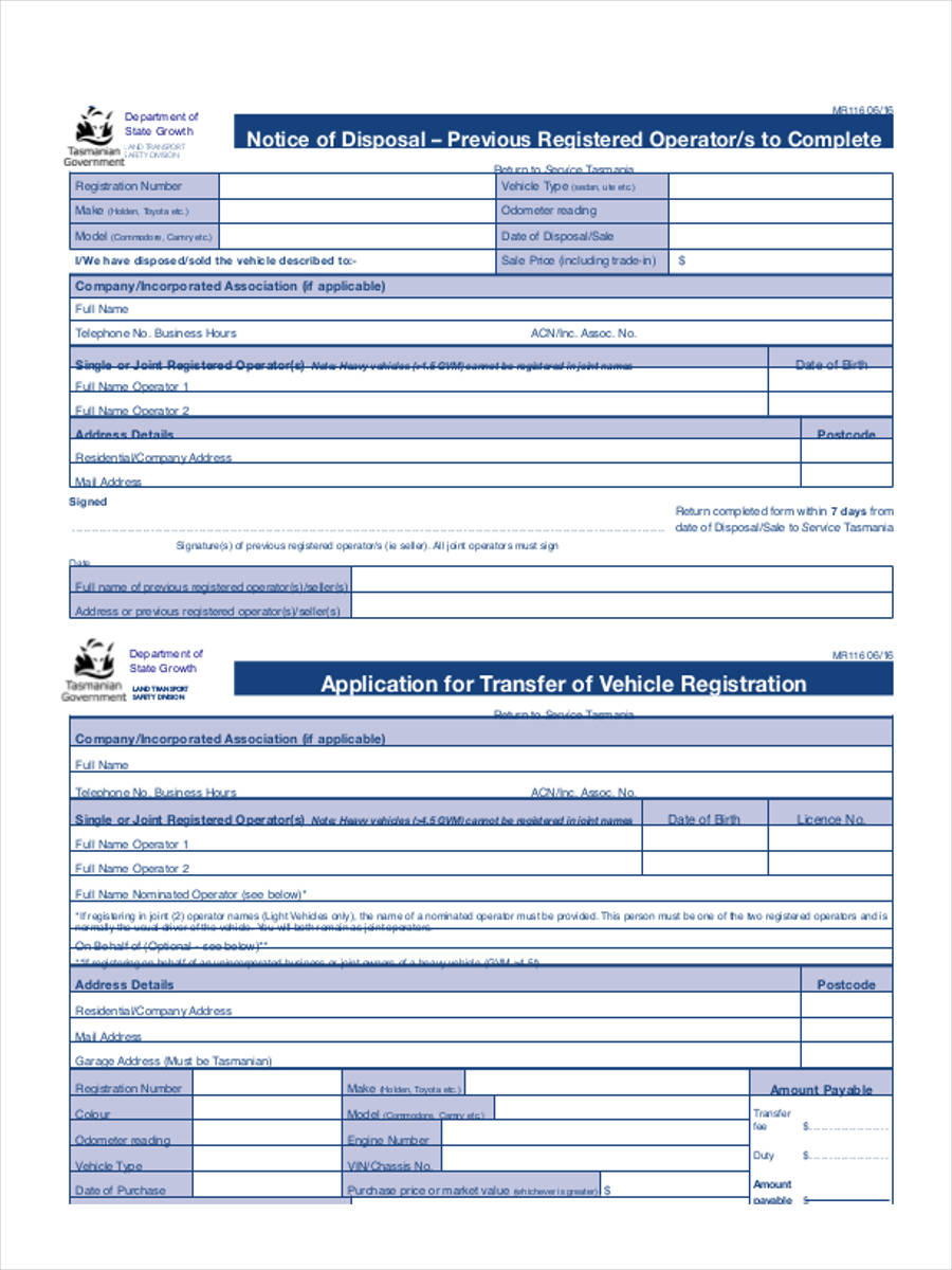 free 5  vehicle transfer forms in samples  examples  formats