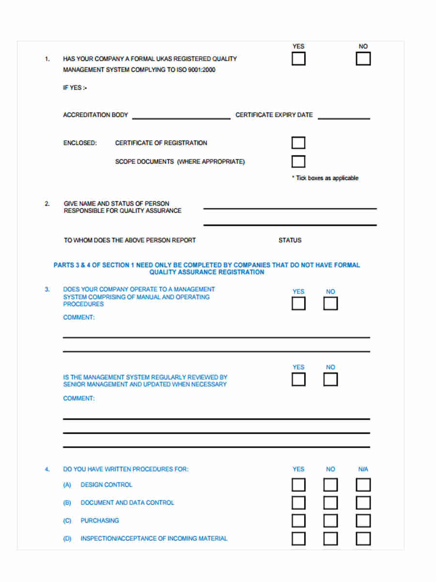 8  vendor questionnaire form sample