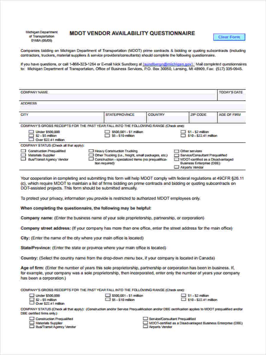 vendor availability questionnaire1