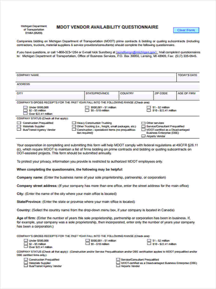 free 8  sample vendor questionnaire forms in ms word