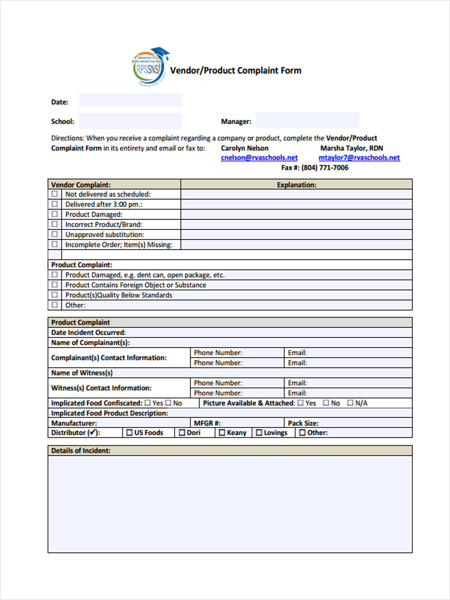 6+ Product Complaint Form Samples - Free Sample, Example