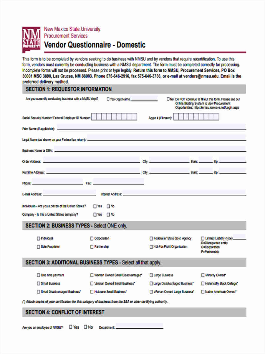 9 sample vendor questionnaire form
