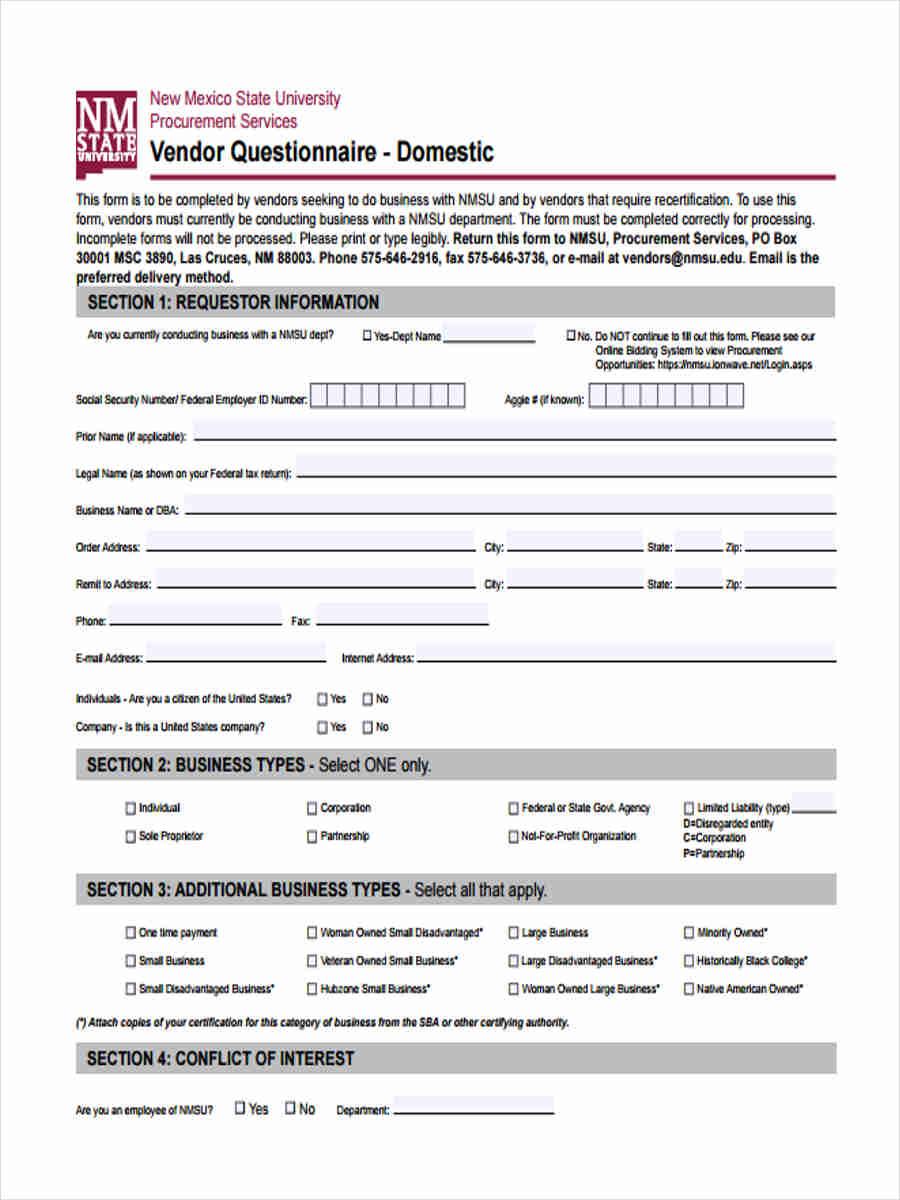 vendor questionnaire domestic