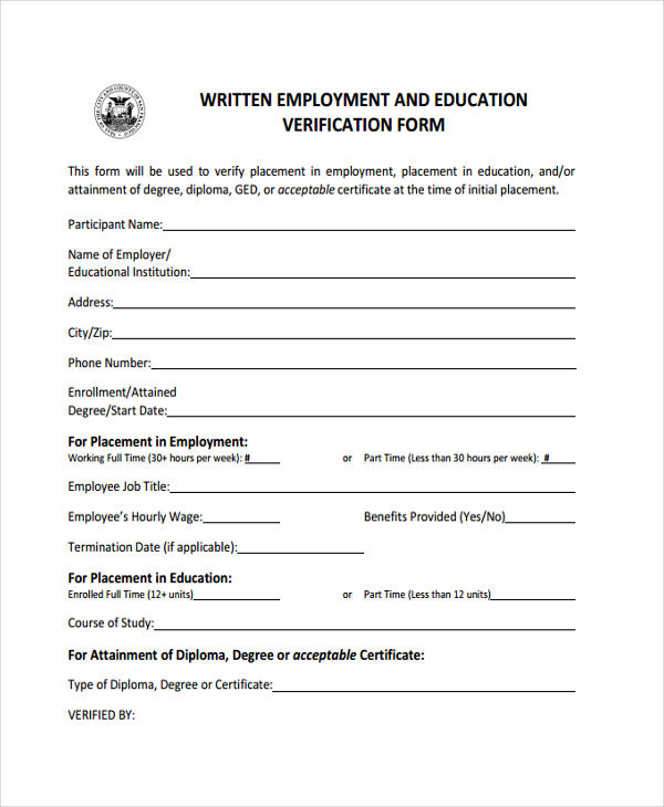 Education Verification Form  Free Sample Example Format Download