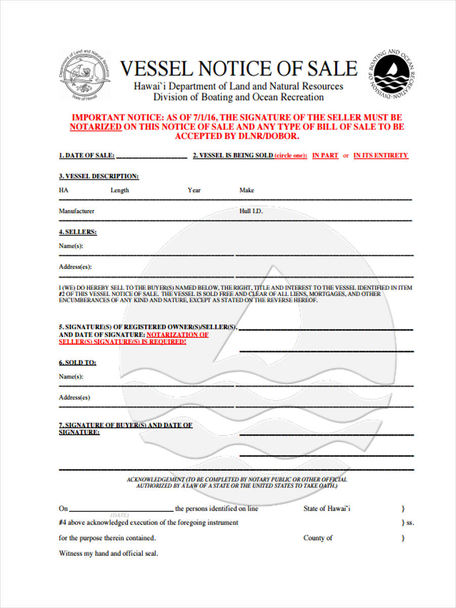 vessel notice of sale