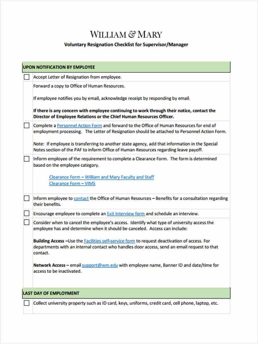Sample resignation clearance form 7 free documents in word pdf voluntary resignation checklist spiritdancerdesigns Choice Image
