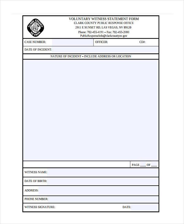 voluntary witness form